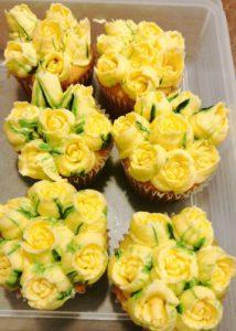 Yellow Rosebud Cupcakes