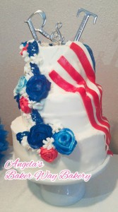 Red white and blue half and half wedding cake