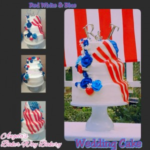 Red White and Blue His and Hers wedding cake